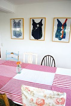 Tutorial for a tablecloth, but I'm more interested in the bathing suits in frames!