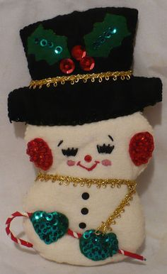 Vtg Christmas Ornament Felt & Sequin LARGE Cheery Snowman | eBay