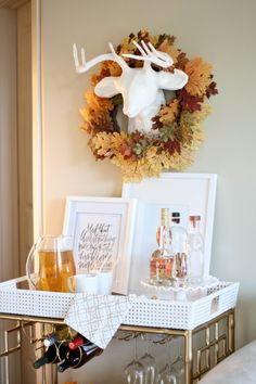 An apple cider bar cart just in time for Thanksgiving! Thanksgiving Decorations, Seasonal Decor, Apple Cider Bar, Sweet Home, Bar Cart Decor, Relax, Take The Cake, Fall Home Decor, Home Wall Art