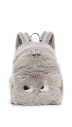 Anya Hindmarch Mini Eyes Shearling & Leather Backpack, Light Grey In Light Slate Small Backpack, Backpack Purse, Leather Backpack, Fashion Backpack, Anya Hindmarch Fashion, Cute Mini Backpacks, Young Fashion, Cute Bags, Boho