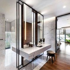 Courtyard house modern bathroom by ming architects modern Contemporary Baths, Contemporary Interior, Bad Inspiration, Bathroom Inspiration, Bathroom Interior, Modern Bathroom, Stone Bathroom, Boffi, Interior Architecture