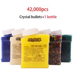 1 Botella y 42000 Unids Color Paintball Accesorios Orbeez Orbeez Pistola de Balas de Pistola de Juguete Bala Suave de Agua Bolas de Barro de Cristal suelo