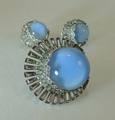 Boucher Vintage Jewelry Set Art Deco Moonstone Rhinestone Brooch Earrings.