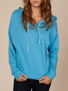 Eco-fleece hoodie in the popular Dolman style. In a pretty color too.  Get rid of that grey and black filled closet.