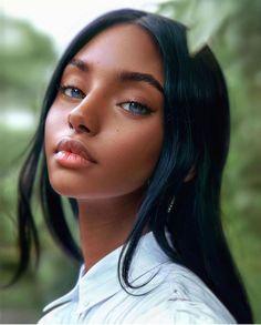 Digital Art Girl, Digital Portrait, Girl Face, Woman Face, Foto Face, Photographie Portrait Inspiration, Photo Portrait, Face Photography, Black Girl Art