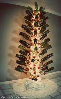 Oh Christmas tree, oh Christmas tree... Wine Bottle Christmas Tree by meganleestudio, via Flickr