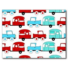 Retro Camping Trailer Turquoise Red Vintage Cars Postcards SOLD on Zazzle