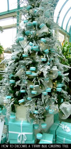 Just the sight of a blue Tiffany & Co box with a white ribbon makes people happy.  Why not share your happiness by decorating your Christmas tree this year in a Tiffany blue theme?  Here are the steps for how to decorate a Tiffany blue Christmas tree.