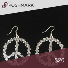 Peace Sign Earrings Silver color. Very pretty design of silver leaves forming a peace sign! Jewelry Earrings