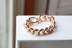 ROSE GOLD Chain Bracelet -Chunky Large Chain Link Bracelet - Chain bracelet. $20.00, via Etsy.