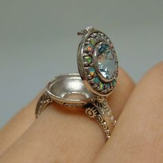 Aquamarine & Opal Poison Locket Sterling Silver please and thank you