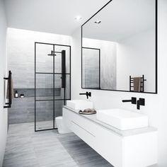 Vigo Meridian 33 - 73 Framed Fixed Glass Shower Screen in Matte Black - Badezimmer Amaturen Bathroom Layout, Modern Bathroom Design, Bathroom Interior Design, Minimal Bathroom, Bathroom Cabinets, Bath Design, Beautiful Bathrooms, Tile Layout, Contemporary Bathrooms