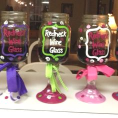 Candle stick + Mason Jar + wine = girls trip