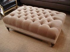 Gervais Tufted Ottoman Beige Mohair Button Tufted Upholstery with Turned Legs and Casters COM Available-6 yards
