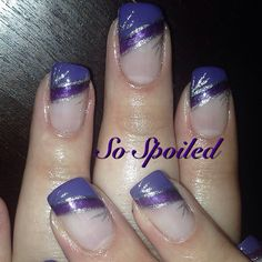 Bio Sculpture Nail Art & Design - Two tone purple slanted French stripes with silver designs. Lovely Fall or Winter Nail. Featured Gels: 118 High Tea Tulip, 2019 Lavender Nights & 138 Melting Mercury