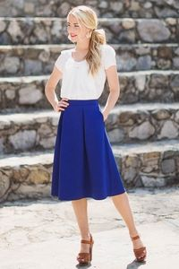Stitch fix - I LOVE how clean this looks! A-Line Modest Skirt in Royal Blue