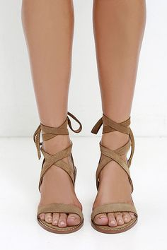 Chinese Laundry Calvary - Beige Suede Sandals - Lace-Up Sandals - $120.00