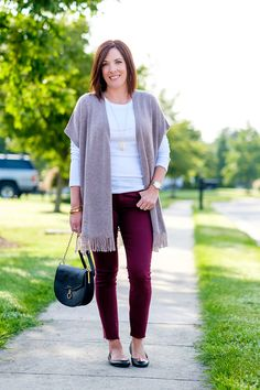3 Ways to Style Burgundy Jeans: Blush Poncho | I really like pairing burgundy with blush. This poncho is Lucky Brand, and it's made of merino wool with a touch of cashmere so it's super soft, cozy, and warm.