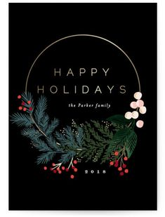 """Modern Pine Wreath"" holiday card by Minted artist Alethea and Ruth. This non-photo holdiay card features a modern wreath with lush pine branches. Perfect to send out as a company. Holiday Photo Cards, Holiday Photos, Xmas Cards, Modern Christmas Cards, Company Christmas Cards, Christmas Posters, Christmas Card Sayings, Diy Holiday Cards, Illustration Noel"