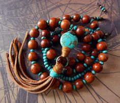 Leather Tassel Necklace Turquoise Stone Natural by prayerfeather
