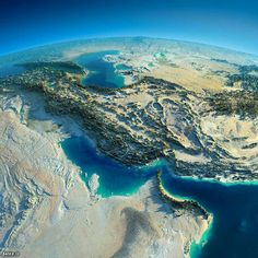 Exaggerated Relief Map of the Persian Gulf Region (Iran) Earth And Space, Iran Travel, Day For Night, Aerial Photography, Night Photography, Planet Earth, Mother Earth, Beautiful Pictures, Scenery