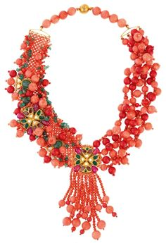 Coral: Coral, emerald, ruby and diamond necklace by Alpana Gujral