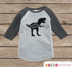 Boys Dinosaur Shirt - Brother Dino Shirt or Onepiece - Brothersaurus Shirt - Brother Saurus Sibling Shirts - Grey Raglan - Brother Dinosaur
