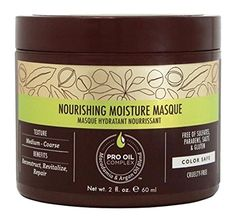 (Product review for Macadamia Professional Nourishing Moisture Masque - 2oz. - Medium to Coarse Hair Textures - Ultimate Hydrating Treatment - With Argan Oil - Sulfate, Gluten & Paraben Free, Safe for Color-Treated Hair). Nourishing Moisture Masque is the ultimate hydrating, repairing and reconstructing treatment for medium to coarse hair textures. It improves hair health, shine and elasticity and is ideal for dry, damaged or color-treated hair. Key Ingredient: PRO OIL COMPL