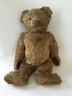 Antique Fully Jointed Brown Mohair Teddy Bear Excelsior Glass Eyes Hump #MATKOFSTEIFF