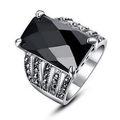 Sz6-9 8CT Agate Lady Band Black CZ Crystal 10KT White Gold Filled Women's Ring #New #Band