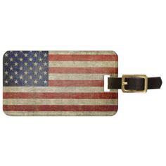 Weathered, distressed American Flag Luggage Tag