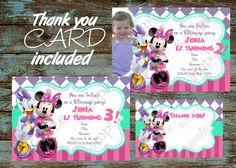Minnie Mouse birthday party invitation, Minnie Mouse bowtique invitation, Minnie Mouse and Daisy bowtique, Minnie and Daisy thank you card
