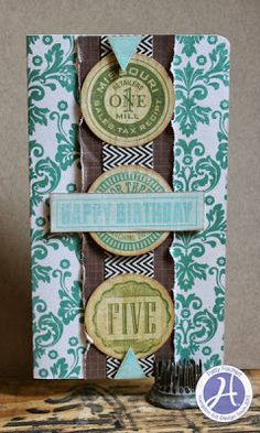 My Wooden NIckle card on Hampton Art Blog, Echo Park papers and stamps