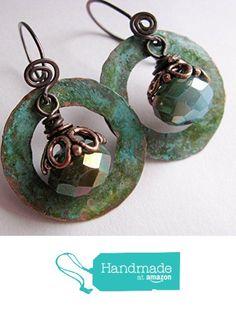 Copper Patina Earrings and Czech Glass Dangles from Lindy's Designs http://www.amazon.com/dp/B0166YOGKS/ref=hnd_sw_r_pi_dp_QMMjwb1VDTQKN #handmadeatamazon