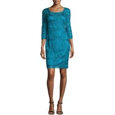 Sue Wong 3/4-Sleeve Lace Cocktail Dress (€370) ❤ liked on Polyvore featuring dresses, teal, teal lace dress, blue lace dress, lace dress, a line dress and teal blue dresses