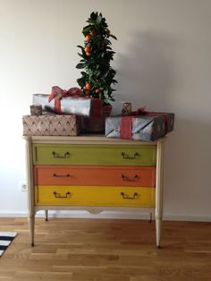 My Grange Ermitage 3 drawer chest or commode. Decorated for Christmas 2015
