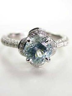 Antique Style Aquamarine Engagement Ring