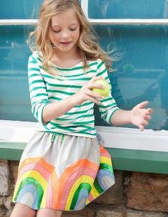 Sandy toes go with everything, including a sparkly skirt in sunsoaked colours with sequins galore which you can also wear with wellies and a mac at the chilly ends of the season. Fun and machine washable - what's not to love?