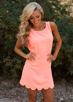 cool Perfectly Scalloped Dress Neon Coral