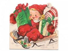 Vintage 1940s Hallmark Christmas Card Girl on Sled with Presents by SandyCreekCollectables for $3.45