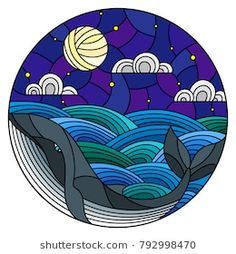 Illustration in stained glass style whale into the waves, starry sky,moon and clouds, round image What is Art ? Dot Painting, Watercolor Paintings, Posca Art, Whale Art, Record Art, Lettering Styles, Stained Glass Patterns, Happy Colors, Logo Design Inspiration