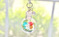 Red White and Blue Terrarium Necklace Woodland Nature Jewelry, 4th of July Jewelry, Real Flower Necklace Glass Globe Pendant