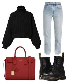 """Red"" by fionameehan on Polyvore featuring Vetements, Diesel, Dr. Martens and Yves Saint Laurent"