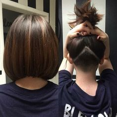 Undercut with an angled bob