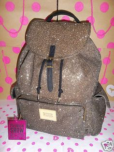Bling New Victoria's Secret PINK ♥ Backpack Gold Glitter Fashion Show 2012 ♥ OMIGOD I WANT IT SO BAD