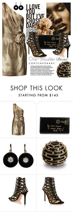 """""""Party Style:One-Shoulder Dress"""" by samketina ❤ liked on Polyvore featuring Halston Heritage, Yves Saint Laurent, L'Objet and Gianvito Rossi"""