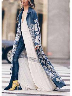 Turndown Collar Printed Colour Long Sleeve Coat - realyiyi.com Look Kimono, Long Kimono Outfit, Hippy Chic, Boho Fashion, Womens Fashion, Indian Designer Wear, Long Cardigan, Summer Cardigan, Mode Inspiration