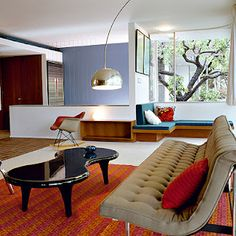 modernist interior inspired by 70s style