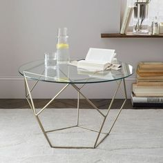 Origami Side Table - Glass/Antique Brass | West Elm