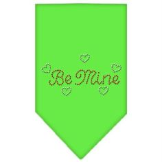 Be Mine Rhinestone Bandana Lime Green Large